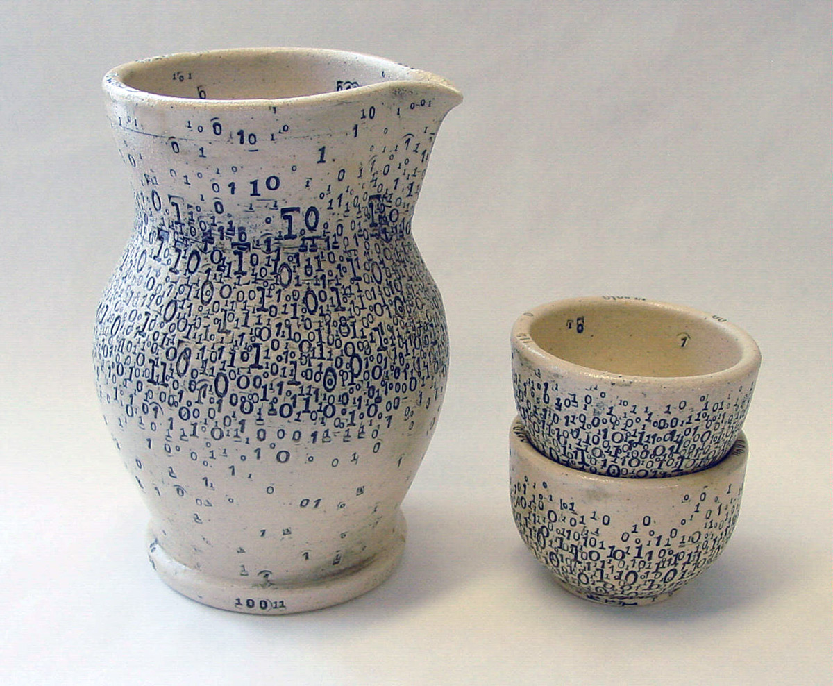 Kernel Panic: New Binary Ceramics Punctuated with Typewriter Keys by Laura C. Hewitt