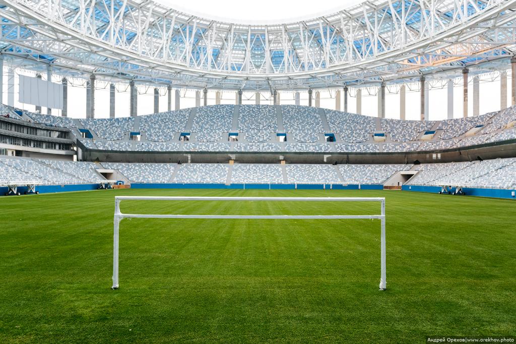 Стадион Нижний Новгород в ноябре стадиона, поэтому, стадиону, монтаж, придаст, который, мембран, оконченный, глянув, рендер, последний, проекта, кажется, фасада, Новгород», «Нижний, готовности, Степень, оценивают, примерно