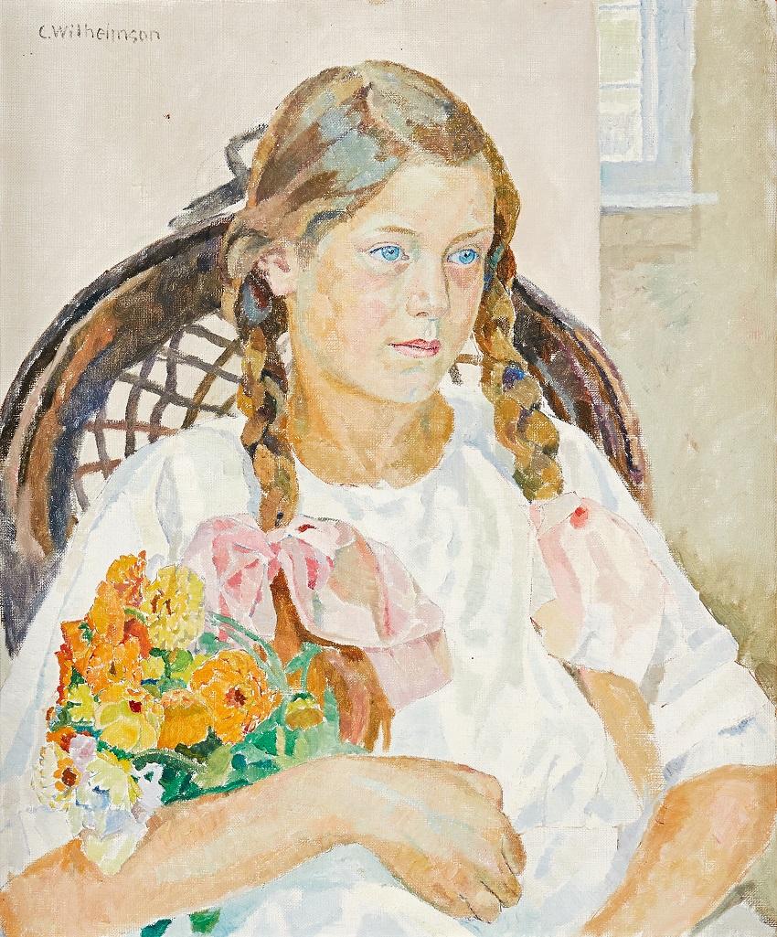 Porträtt föreställande Irmelin Högström med blombukett i famnen
