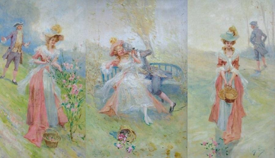 Three works : Les amoureux sur un banc ; La cueillette ; Le panier renversé