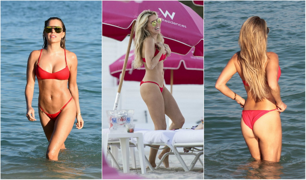 Silvia Mace in a red bikini