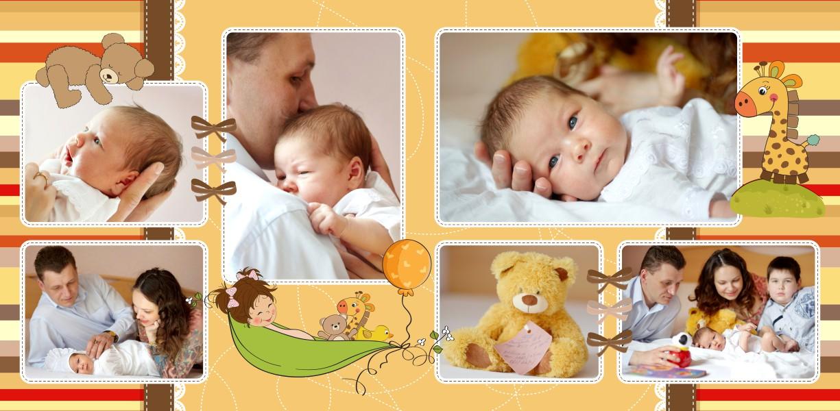шаблон фотокниги для новорожденной девочки