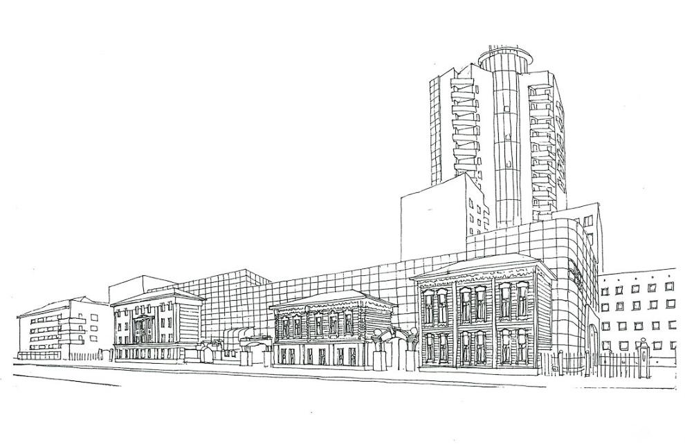 13. Тогда же возникла идея фасадного остекления и башни наверху, как силуэтного завершения 17-этажно