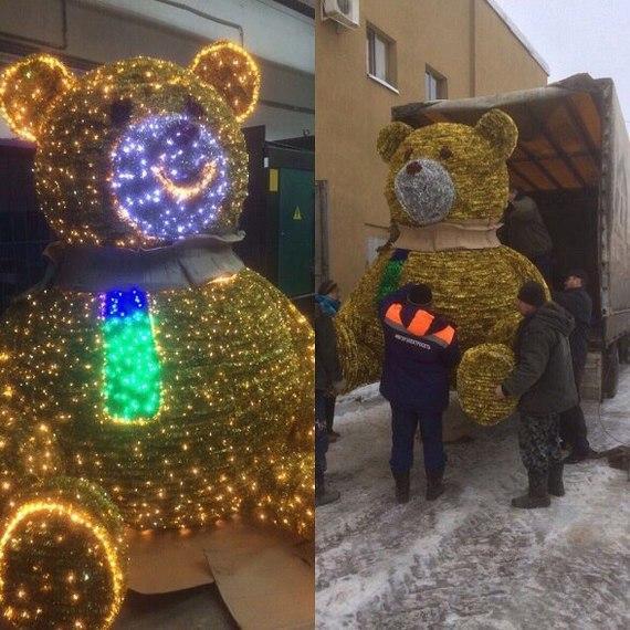 В Иваново на Новый Год тушили праздничного медведя (4 фото)