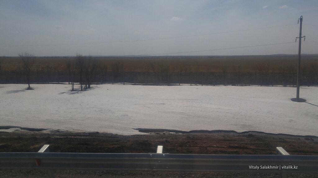 Снег дорога Астана Караганда