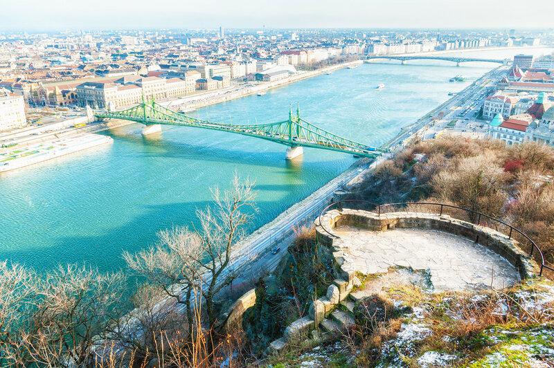 Город Будапешт, вид с горы Геллерт, Венгрия