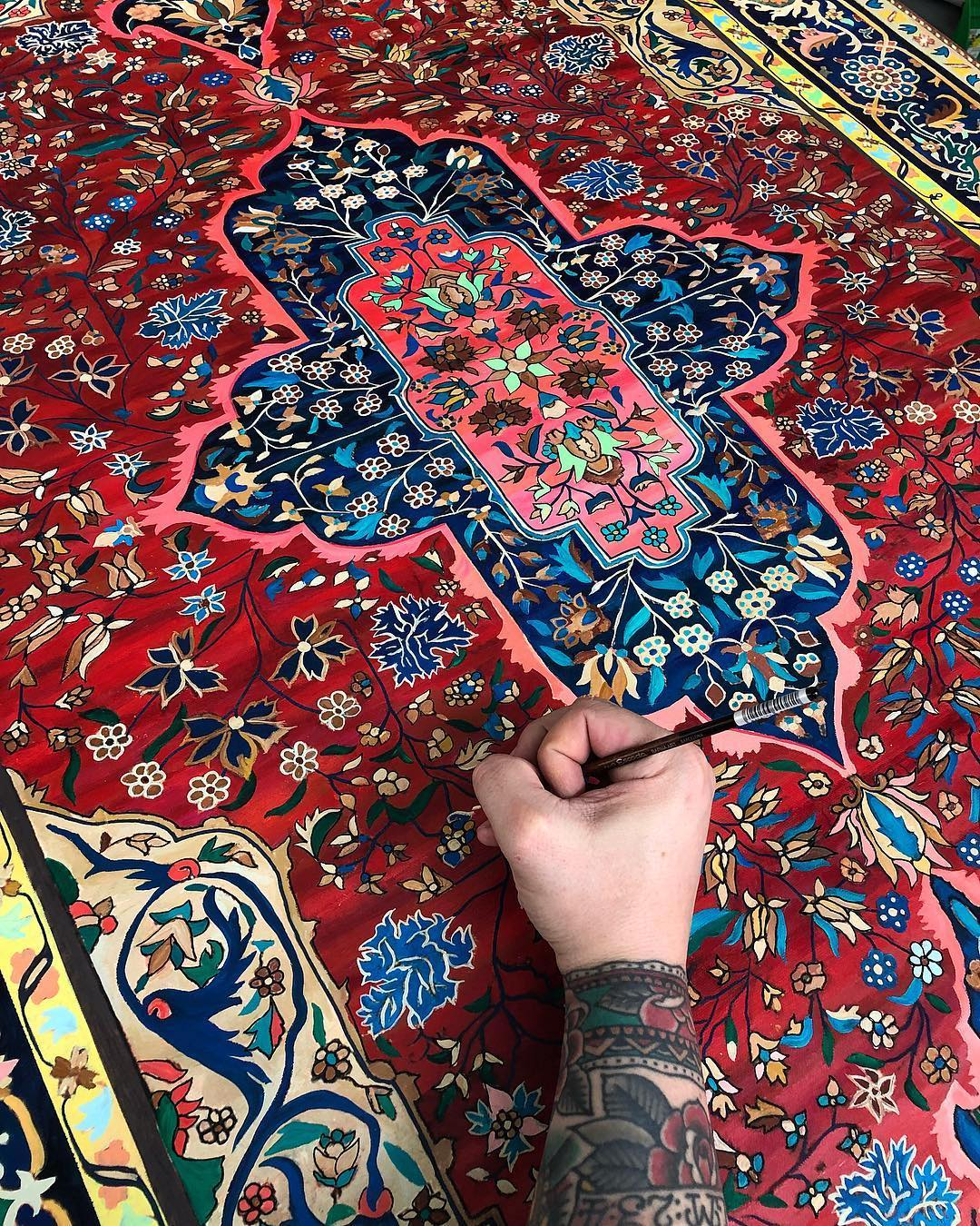 New Hand-Painted Persian Carpets With Vibrantly Hued Details by Jason Seife