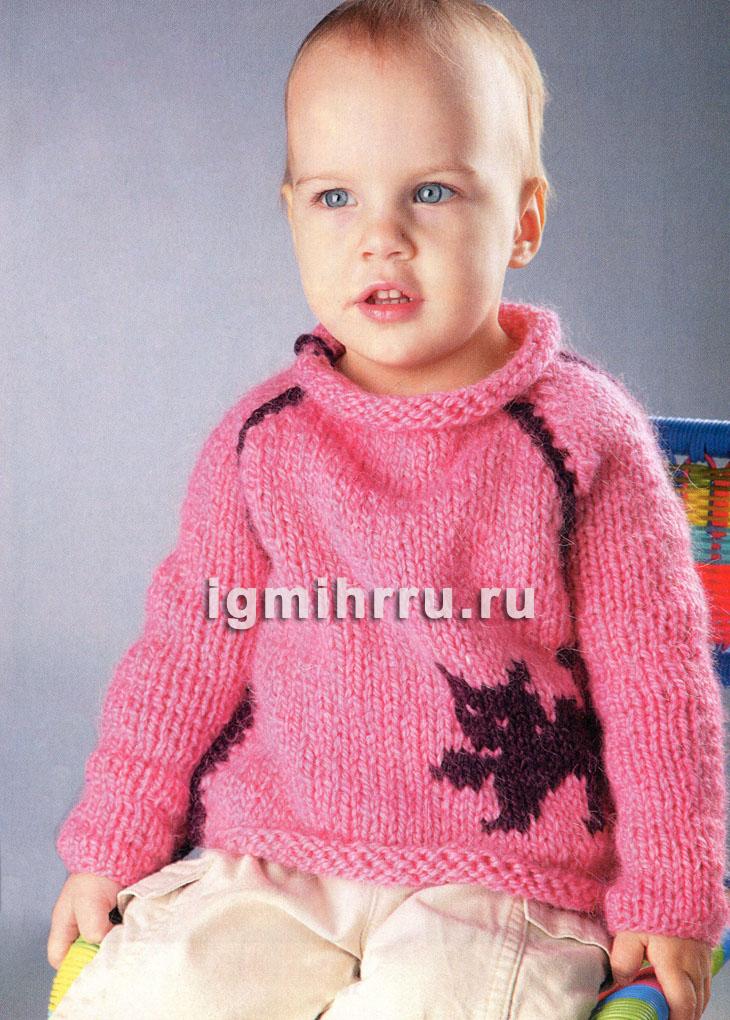Для малыша 1,5-2 лет. Теплый пуловер с мотивом кошка. Вязание спицами