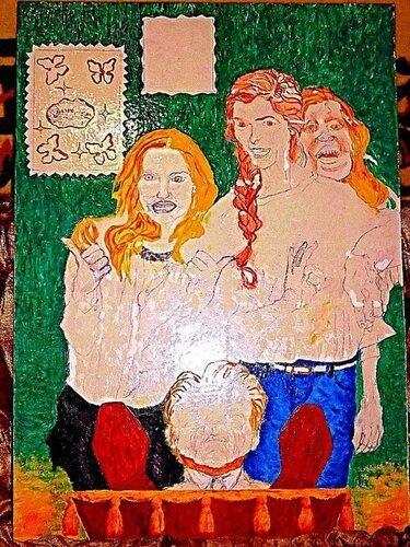 """Моя будущая картина. Она будет называться """"Сатанизм.Дочери-наследницы радуются смерти своего отца-миллионера.Современная российская действительность..."""" - 1-й этап,прорисовка фона и деталей"""