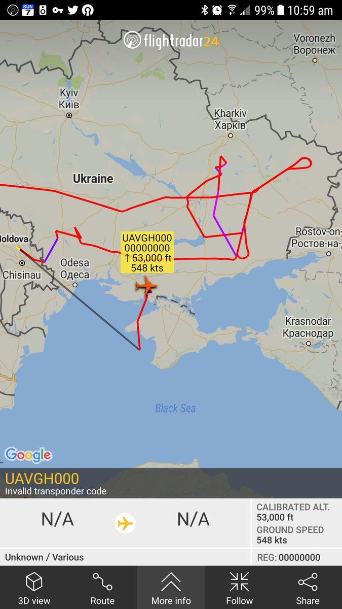 Тяжелый БПЛА USAF RQ4 Global Hawk кружит над Украиной