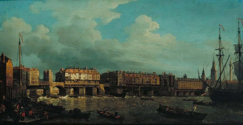 A View of London Bridge before the Late Alterations engraved 1758 by Samuel Scott c.1702-1772