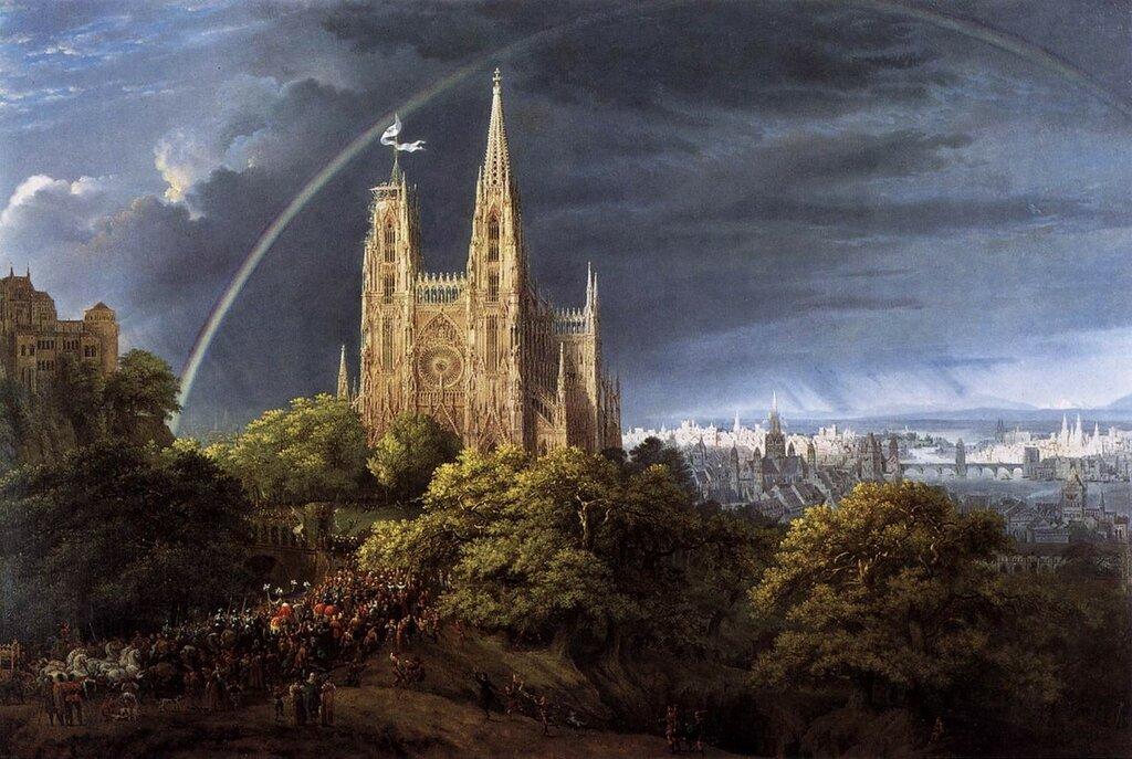 Schinkel,_Karl_Friedrich_-_Gotische_Kirche_auf_einem_Felsen_am_Meer_-_1815.jpg