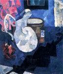 Иван Пуни «Натюрморт. Кувшин, черный зонтик и шляпная коробка» 1910 г.