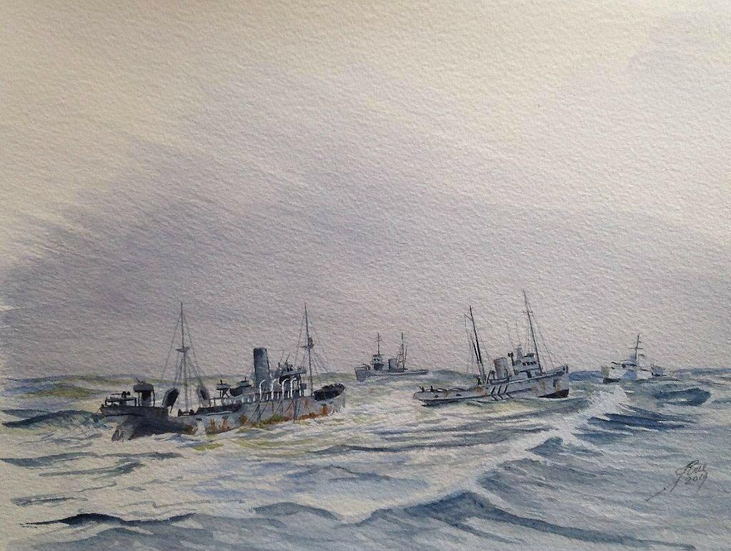 Rescue Tugs. L to R SS Coulmore, tug Eminent, tug Samsonia and Corvette Aubretia. March 1943.