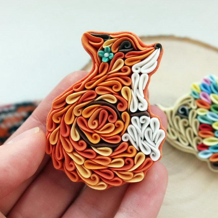 Alisa Laryushkina создает необычные брошки из полимерной глины