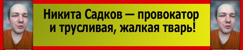Никита Садков, провокатор и трусливая жалкая тварь