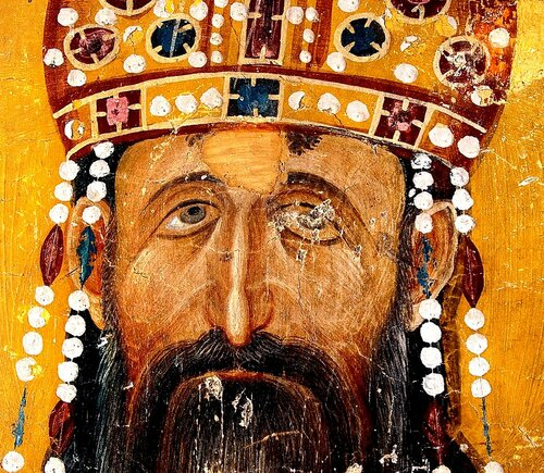 Святой Краль Стефан Урош II Милутин. Фреска церкви Святых Иоакима и Анны (Королевской церкви) в монастыре Студеница, Сербия. 1314 год.