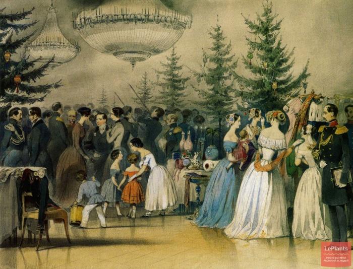 Картина Чернышева «Рождественская елка в Аничковом дворце»   Хотя сама елка прижилась у нас поз