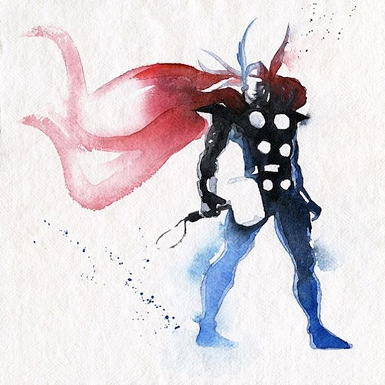 Watercolor Super Heroes by Clementine