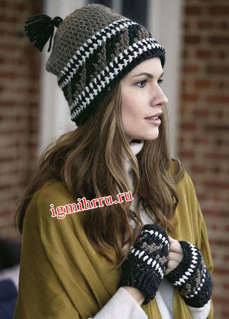 Шерстяной зимний комплект: шапочка и митенки с этническими мотивами. Вязание крючком