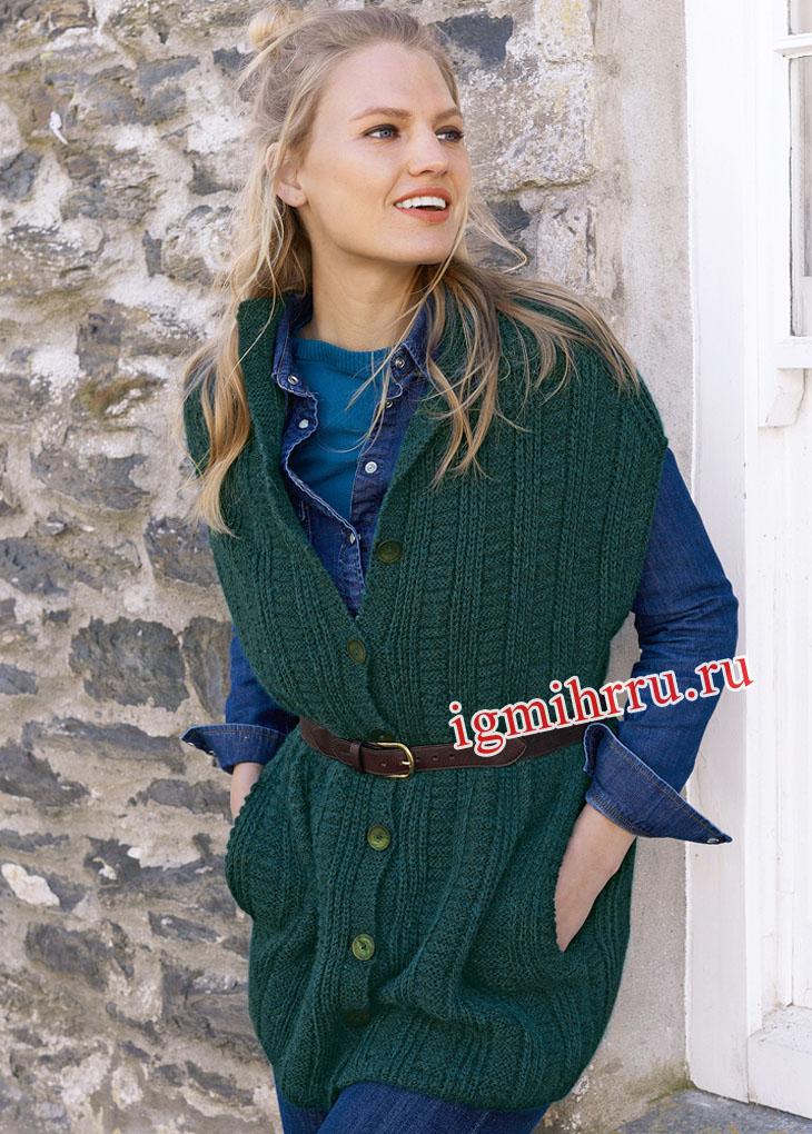 Длинный зеленый жилет с карманами. Вязание спицами
