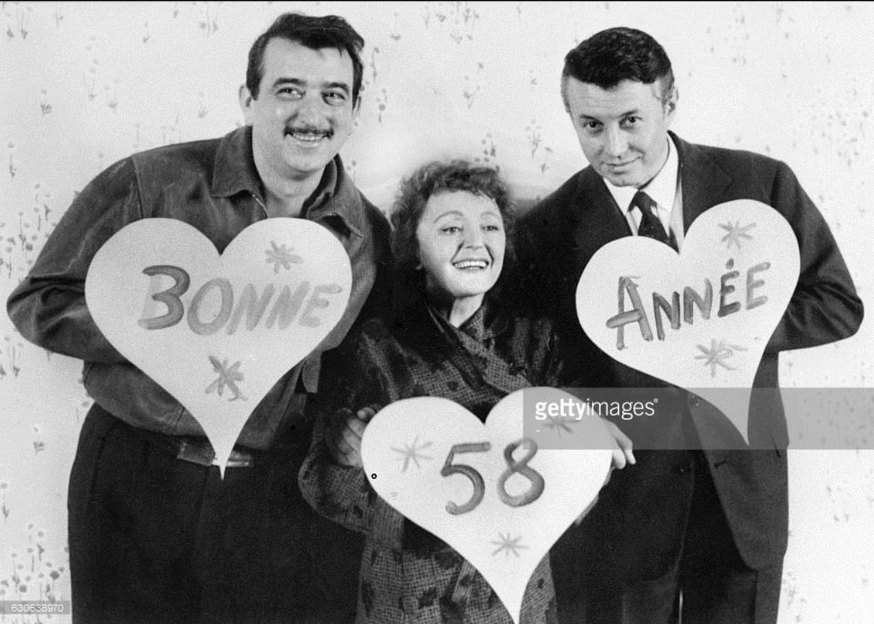 1957. Эдит Пиаф, Арман Местраль и Мишель Оклер  поздравляют французов с Новым годом. 30 декабря