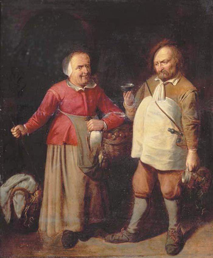 Крестьянская пара на кухне. 17-ый век, Давид Рейкерт III (1612 – 1661);