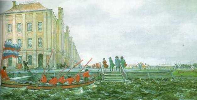 Лансере Евгений Евгеньевич (1875 – 1946) Петербург начала XVIII века 1906 Бумага, темпера. 58,5х111,5 Государственный Русский музей