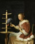 1_1663_Женщина в красном кормит попугая (A Woman in a Red Jacket feeding a Parrot)_22.3 х 17.5_д..м._Частное собрание (лот продан 3 декабря 2008 в Лондоне за 5.502.042$).jpg