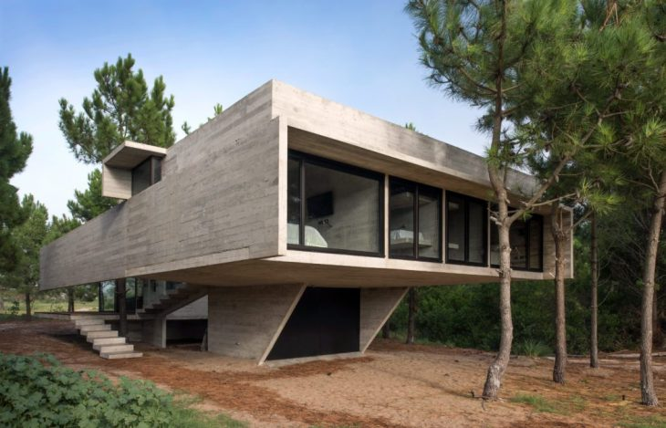Luciano Kruk Arquitectos  designed this stunning modern concrete residence located