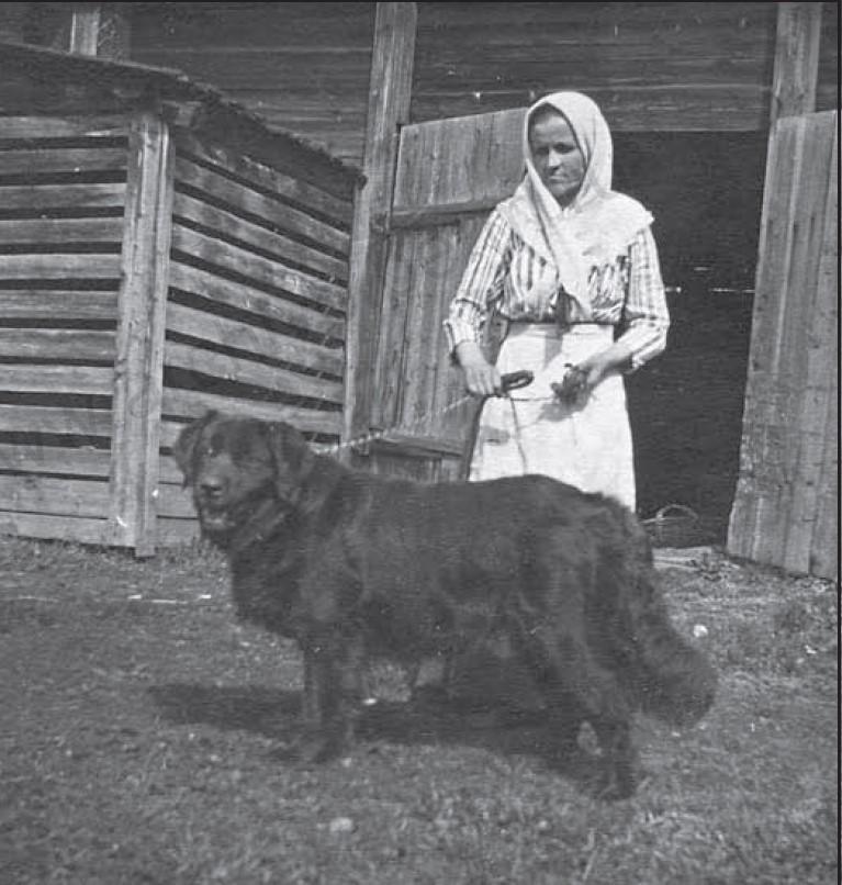 Домработница А.И.Тихонравова с собакой. 9 мая 1916
