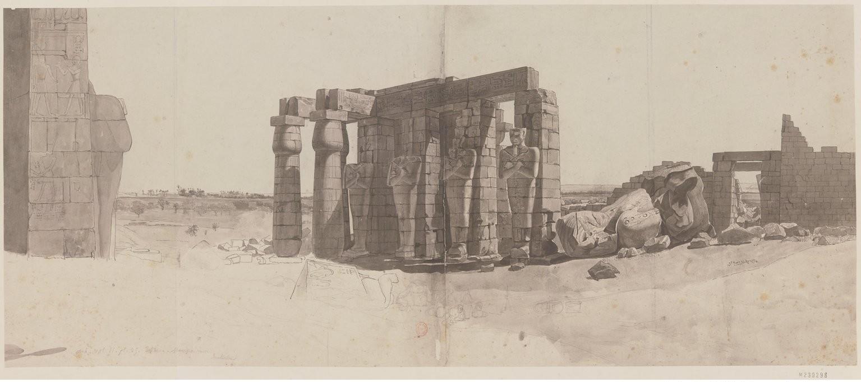 Рамсесум. Перистиль храмаи обломки колоссальной статуи Рамзеса II  с запада