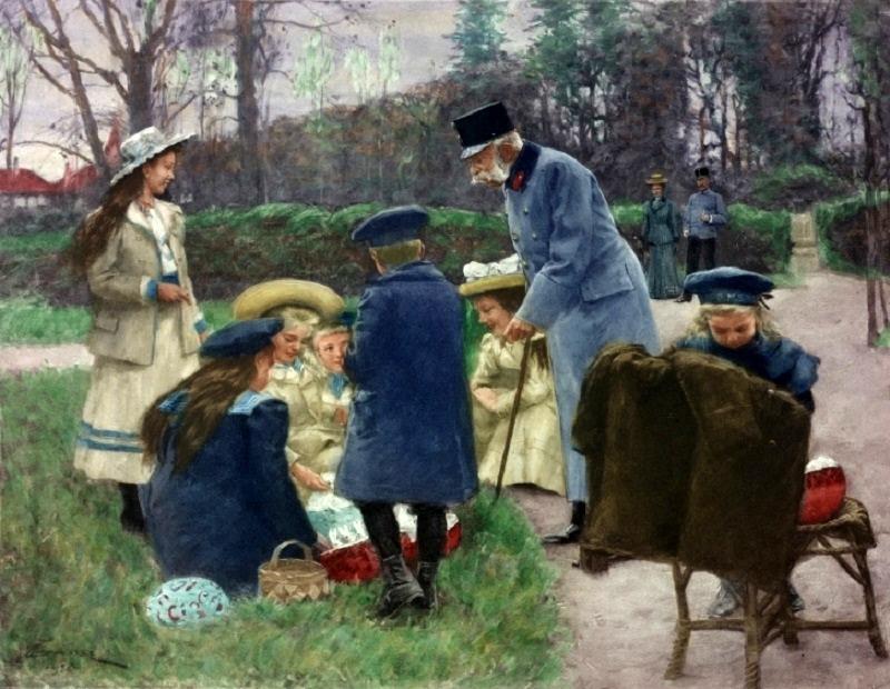 Kaiser Franz Joseph I. beschert im Park von Schloss Wallsee seinen sieben Enkelkindern Ostergeschenke