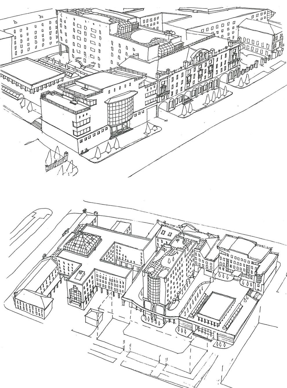 8. Февраль 1996 года. Появляется первый вариант с высотным зданием.