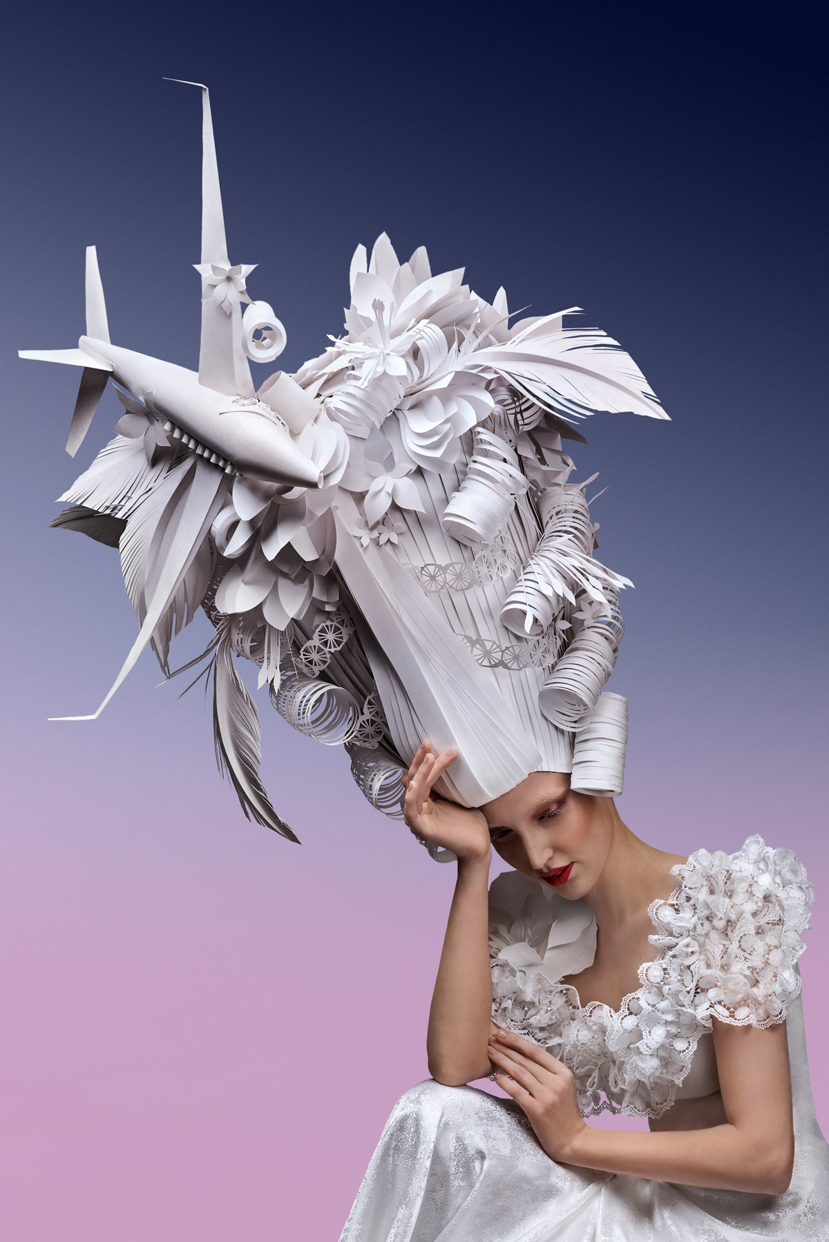 Sky-High Paper Wigs Topped With Modern Luxuries by Asya Kozina