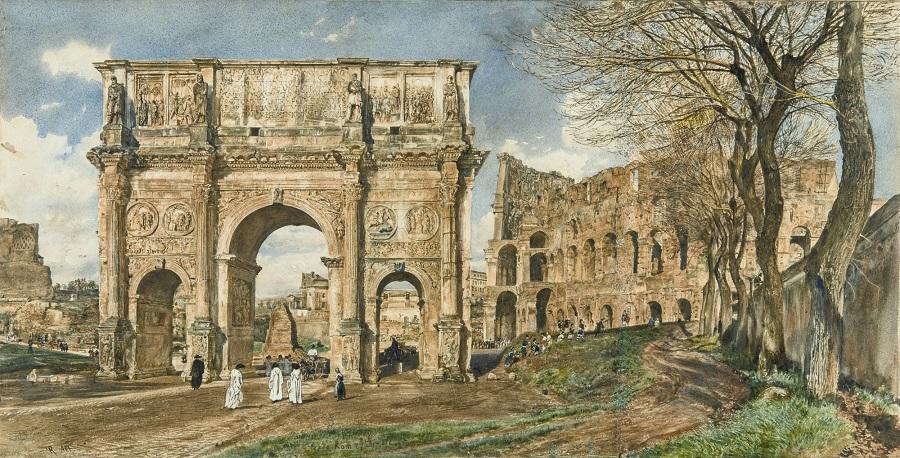 012L13102_6YJWJ. Der konstantinbogen und das Kolosseum in Rom