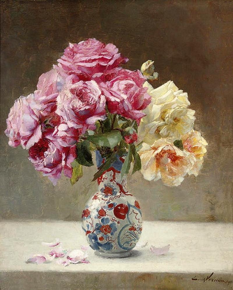 Roses in an Oriental vase , 1890