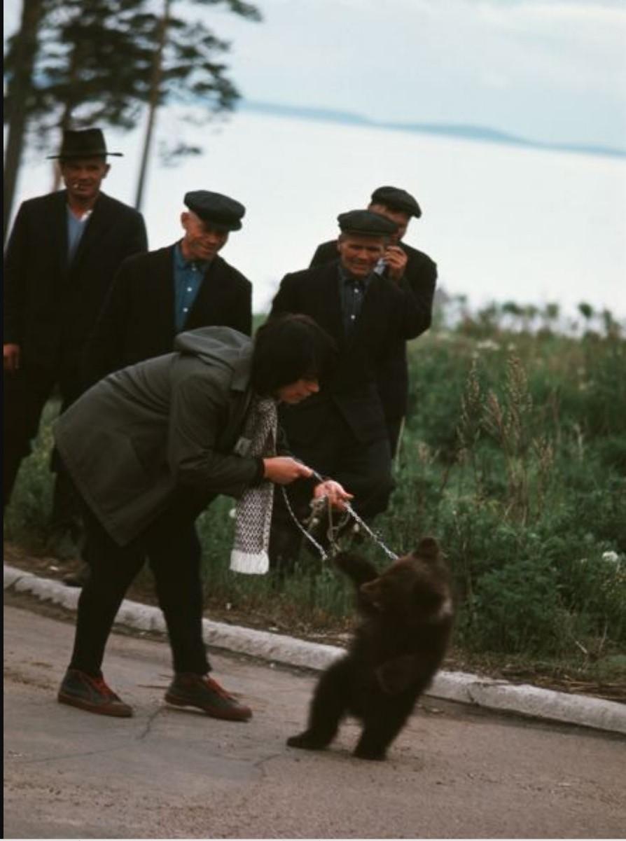 Братск. Женщина с медведем