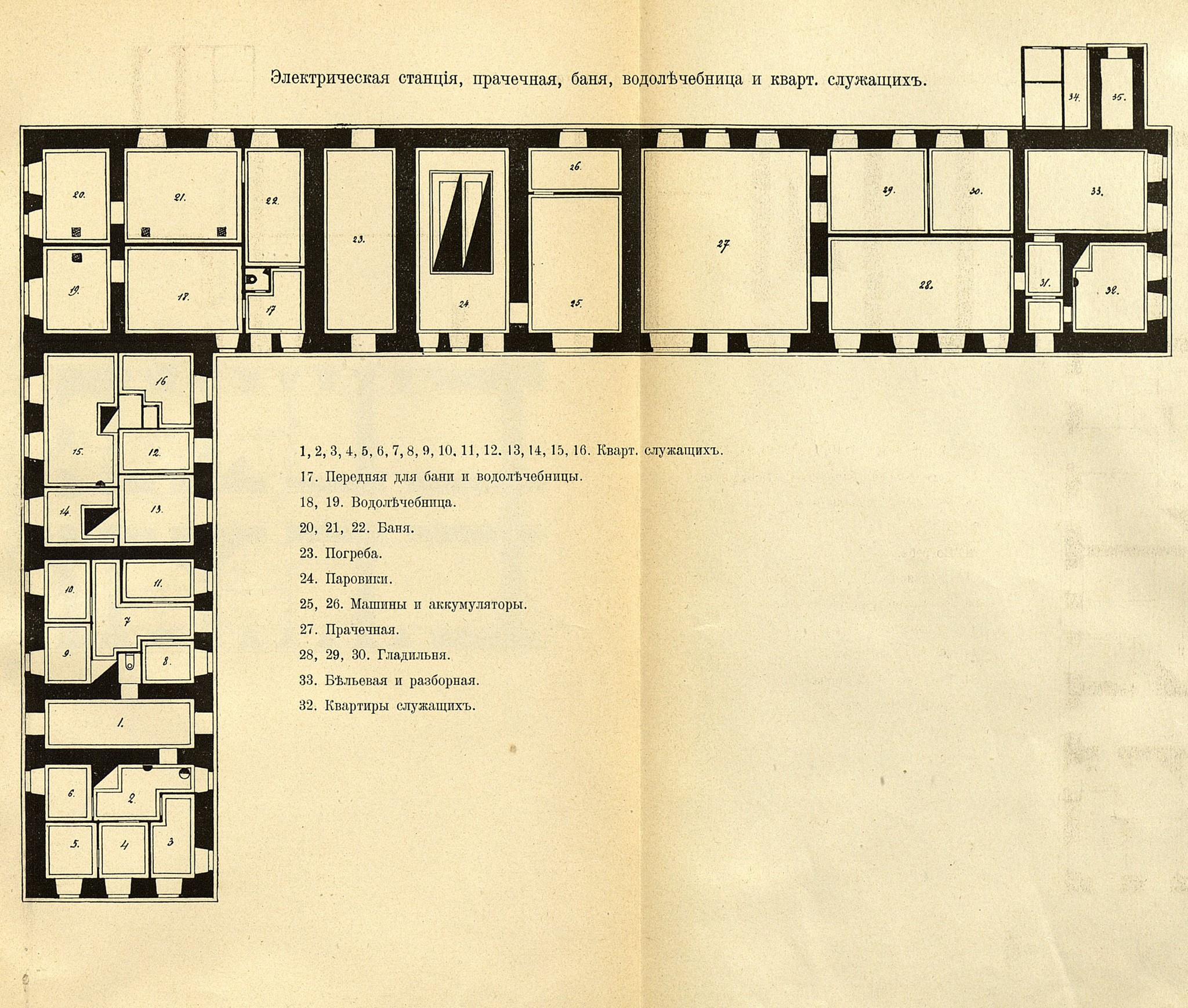 36. Электрическая станция, прачечная, баня, водолечебница и квартиры служащих
