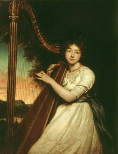 James Northcote (British, 1746-1831) A Young Lady Playing the Harp. 1814