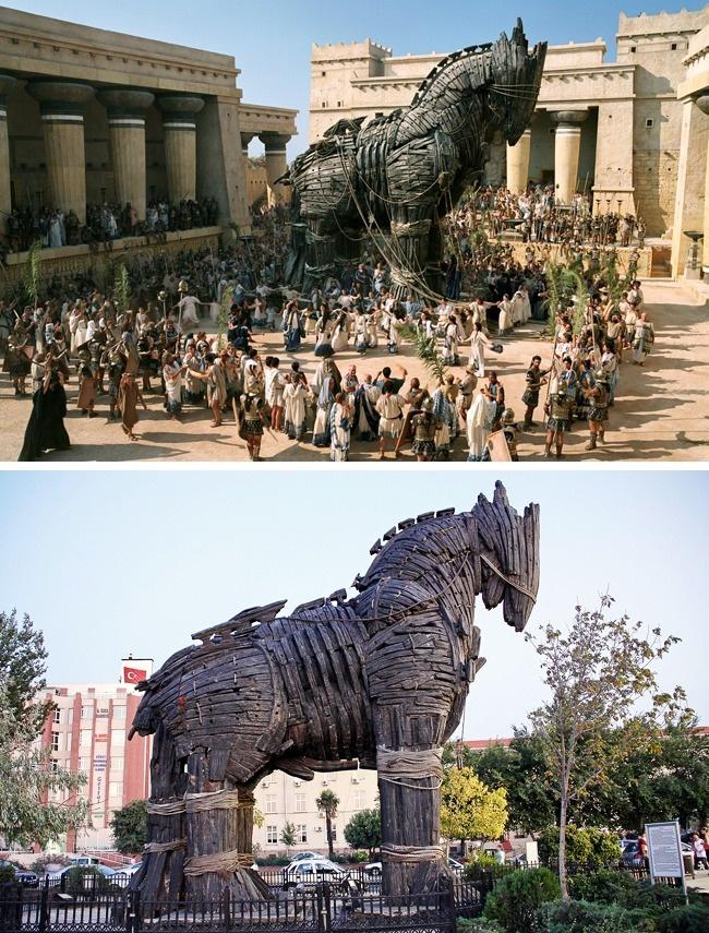 Огромный троянский конь, построенный для фильма «Троя», тоже оказался счастливчиком и избежал незави