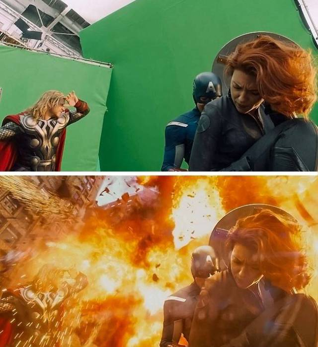 Кадры известных кинолент до и после наложения спецэффектов