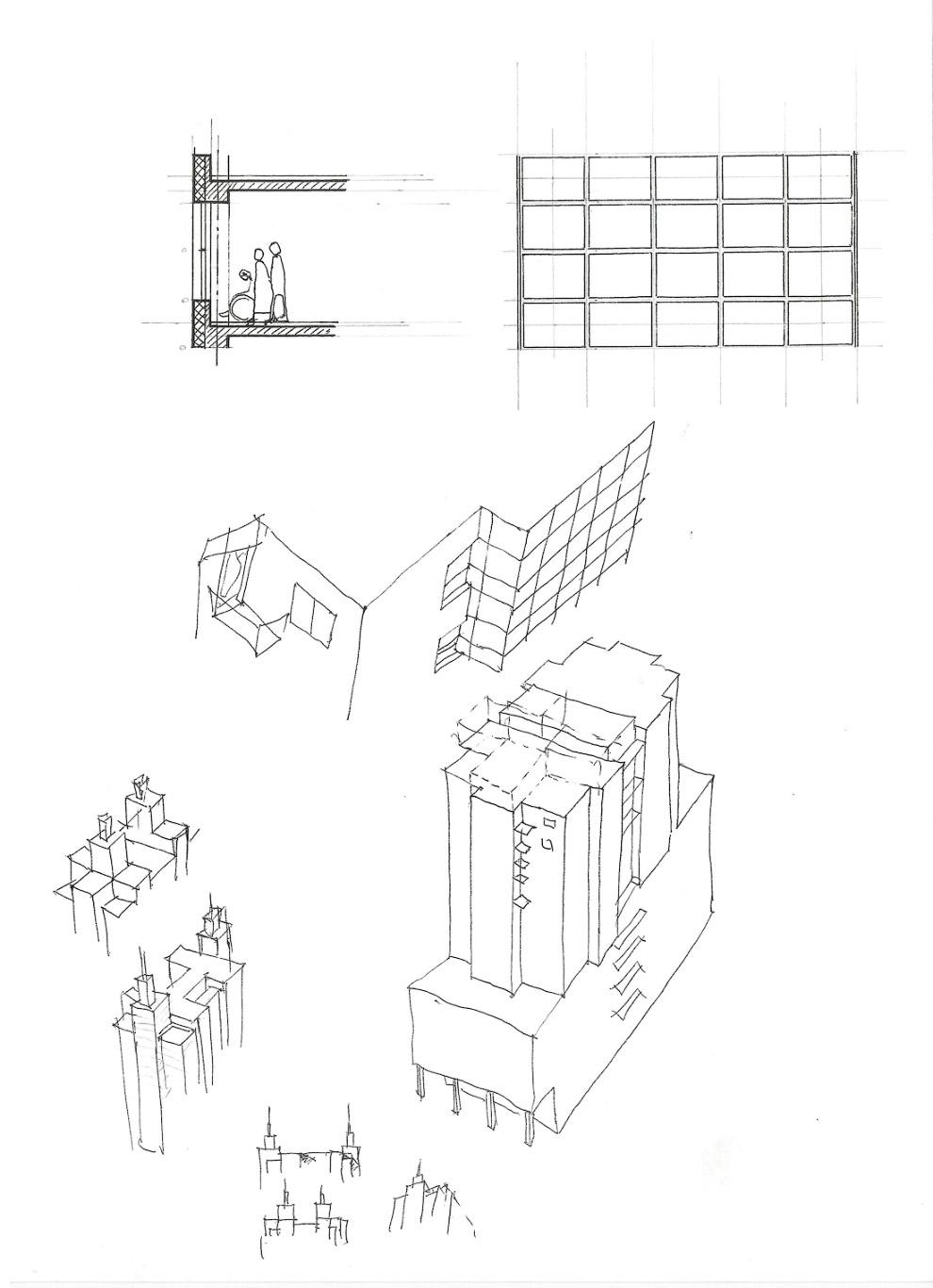 41. Сначала вариант с близким расположением башен друг от друга...