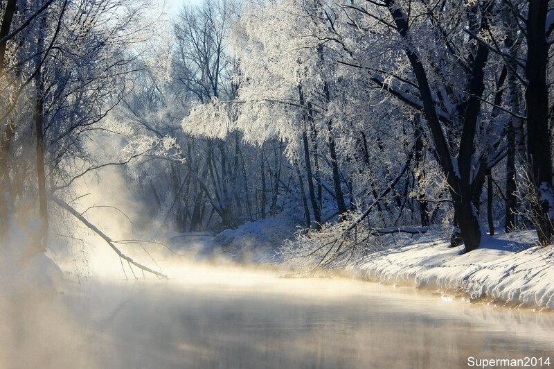 Паровоз и морозное утро на Яузе