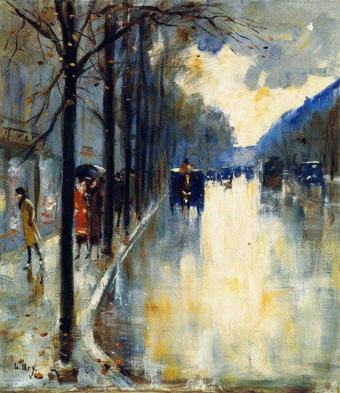 Лессер Ури. Берлинская улица поздней осенью. 1920