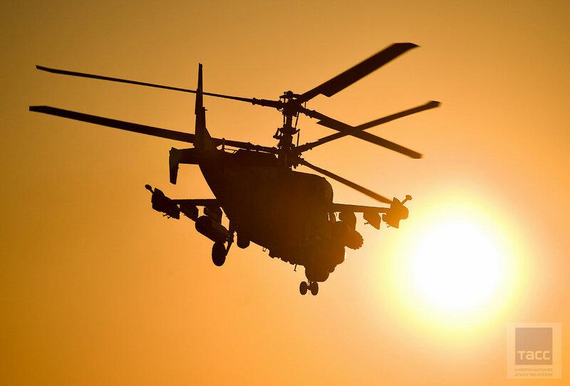 Учебно-тренировочные полеты боевых вертолетов армейской авиации ВВО в Приморском крае