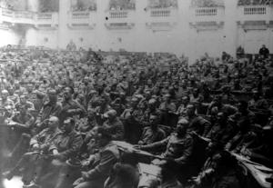 Общий вид Съезда представителей фронтов. Всероссийский съезд офицеров армии и флота. Петроград, 5 мая 1917