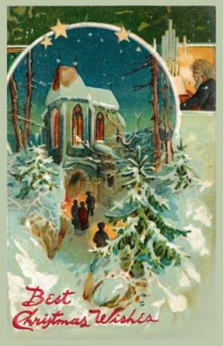 Новый год и рождество. Старая открытка.
