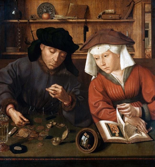 Весьма любопытные детали раскрываются в картине Квентина Массейна «Меняла с женой». По сути, сюжет д