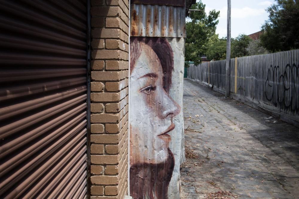 Женский портрет Рона на кухонной стене заброшенного дома в Альфингтоне.